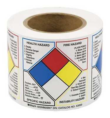 BRADY 53069 Right-to-Know Label, 4in. H x 4in. W