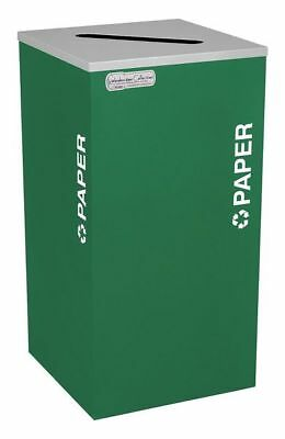 24 gal. Recycling Container Square, Green Steel & Plastic TOUGH GUY 5UJC8