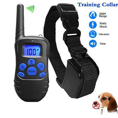 Waterproof Pet Dog Training Collar Rechargeable Electric LCD 100LV Shock Remote