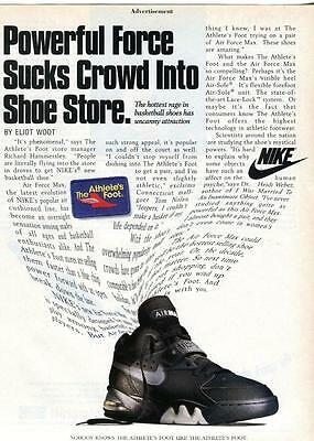 """Vintage Print Ad For Nike Air Max """"powerful Force Sucks Crowd Into Shoe Store"""""""
