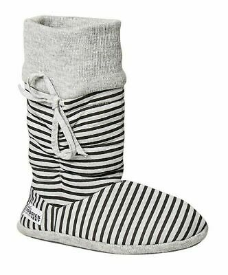 Womens Grosby Hoodies BOOTS GREY/BLACK STRIPES Slippers - Size S M L XL