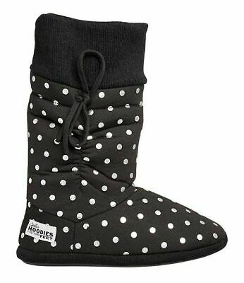 Womens Grosby Hoodies BOOTS BLACK/SILVER SPOTS Slippers - Size S M L XL