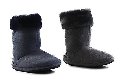 Womens Grosby Hoodies BOOTS PLUSH FLUFFY NAVY GREY Slippers - Size S M L XL