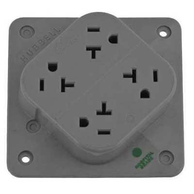 HUBBELL WIRING DEVICE-KELLEMS HBL420HGY 20A Quad Receptacle 125VAC 5-20R GY
