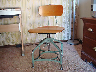 Toledo UHL Steampunk Steel Maple Industrial Swivel Student Drafting Chair Stool