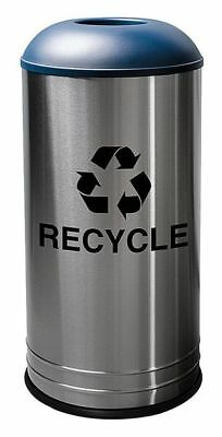 18 gal. Round Recycling Receptacle, Blue stainless steel TOUGH GUY 34AU92