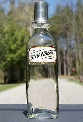 OLD 1900s  Label Under Glass * STRAWBERRY *  Soda Fountain Syrup Bottle