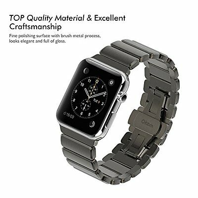Stainless Steel Band Strap Link Bracelet Sport 42mm For Apple Watch iWatch Black