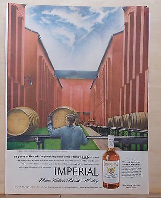 1945 magazine ad for Imperial Whiskey - Whiskey Rolling to the Rackhouse to Age