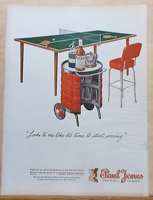 1946 magazine ad for Paul Jones Whiskey - Ping Pong table, rolling bar cart