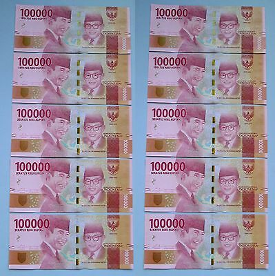 10 (Ten) UNCIRCULATED indonesian Rp.100,000  2016 edition with Consecutive Seria
