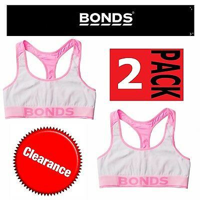 2 x BONDS GIRLS ACTIVE CROP TOP White Pink Training Bra Kids Racer Back Sport