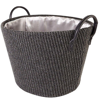 2 x Knitted Basket Laundry Bathroom Washing Clothes Hamper Storage Organiser Bin