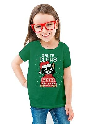 Ugly Christmas Sweater Kids.Santa Claws Ugly Christmas Sweater Cat Toddler Kids Girls Fitted T Shirt Gift
