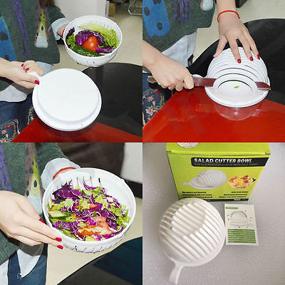 60 Second Salad Maker Cutter Bowl Healthy Vegetable Easy-Slice Tool Slicer UK