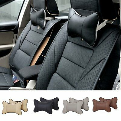 Car Auto Seat Head Neck Rest Leather Support Cushion Pad HeadRest Bone Pillow