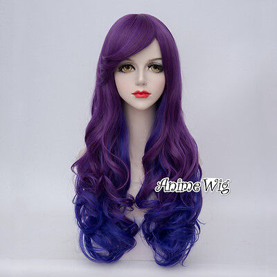 Lolita Mixed Purple 65CM Long Curly Women Cosplay Party Wig +Wig Cap