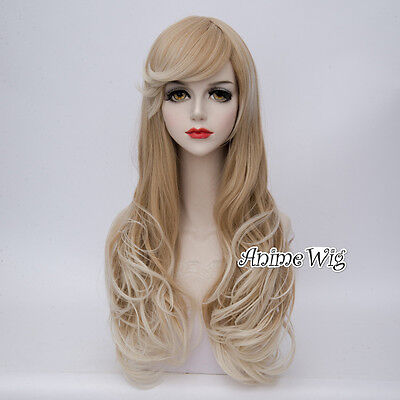 Lolita Mixed Blonde Long Curly Women Party 65CM Cosplay Wig + Wig Cap