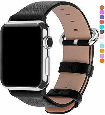 Leather Strap Band Black 42mm W Stainless Metal Clasp For Apple Watch Series 2 1
