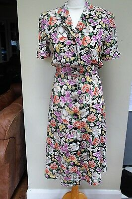 VINTAGE WW2 40'S STYLE FEMME FLOATY FLORAL TEA Dress by Gerard Pasquier 8-10