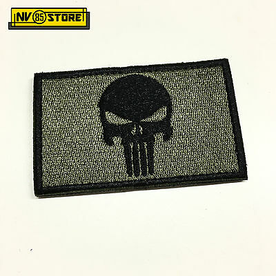 Patch Ricamata Skull Sniper Punisher Navy Seals 8 x 5 cm Militare OD con Velcrog