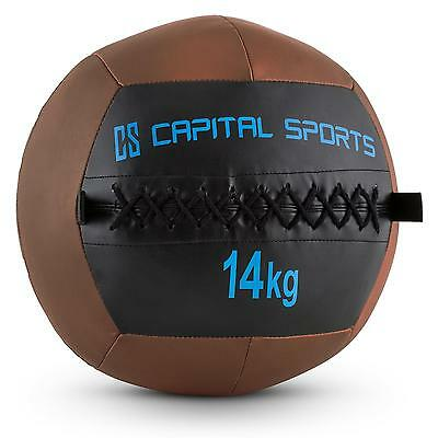 Top Capital Sports Wall Ball 14Kg Kunstleder Braun Medizinball Fitnessball Train
