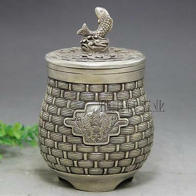 Collectible Decorate Old Handwork Silver Plate Copper Carved Basket Fish Pot Jar