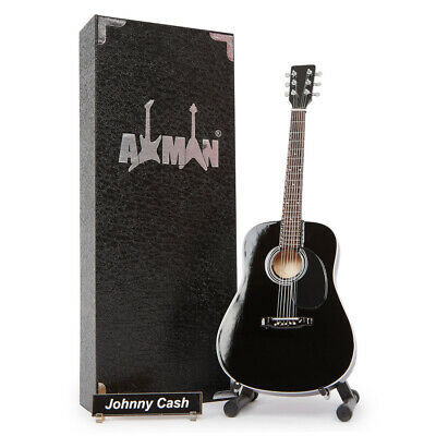 Miniature Guitar Replica: Johnny Cash Black Acoustic D-35 (UK Seller)