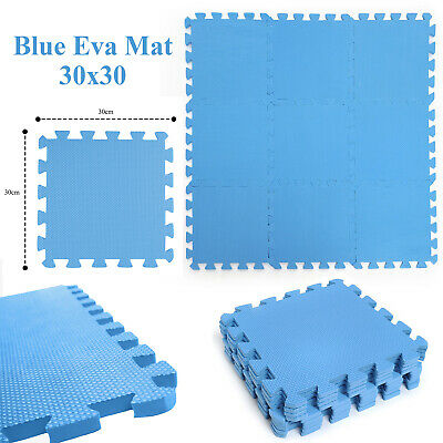 Kids Soft Foam Blue Eva Interlocking Flooring Activity Play Mats Tiles Children