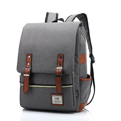 Women Men Canvas Backpack School Laptop Travel Rucksack Satchel  Shoulder Bag