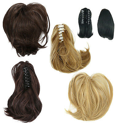 Short Ponytail Hair Extensions Synthetic Hair Wavy Claw Clip Hair Pieces R6M8