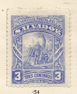 Salvador 1892 Early Issue Fine Mint Hinged 3c. 152573