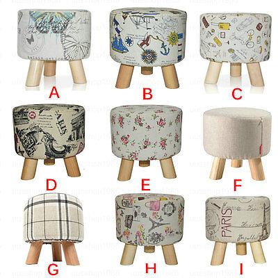 Round Wood Footstool Ottoman Pouffe Stool Chair Tabouret + Fabric Cover 3 Legs