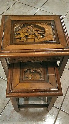 Asian Carved Wood with Glass Nesting Tables Set of 2~Lovely!