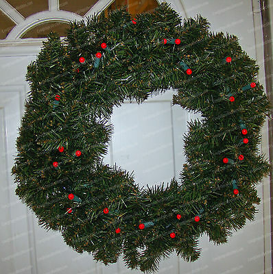 """Bethlehem Lights (Battery Operated) 24"""" Red Berry Pine Wreath (On/Off, Sensor)"""