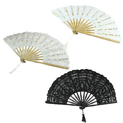 Handmade Cotton Lace Folding Hand Fan for Party Bridal Wedding Decoration H9Y4