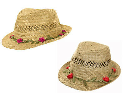Girls Straw Summer Sun Hat Trilby with Roses on the Brim 3 Sizes