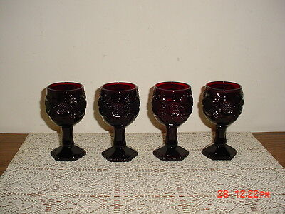 """4-PC AVON """"CAPE COD"""" SMALL DEEP RUBY RED 3oz PEDESTAL 4 1/2"""" GOBLETS/CLEARANCE!"""