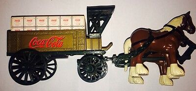 Coca-Cola Vintage Cast Metal Horse Drawn Wagon Bank ERTL
