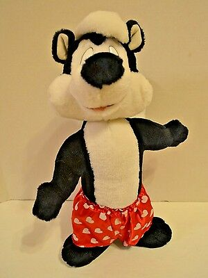 "Pepe Le Pew Stuffed Plush 20"" Looney Tunes Warner Bros Heart Shorts Valentines"
