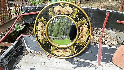 Vintage Romantic Cottage Round Glass Roses Wall  Mirror