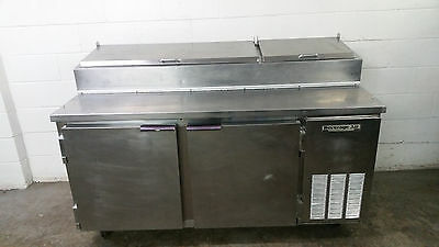 "67"" Beverage Air DP67 Refrigerated Raised Rail Pizza Prep Table 2 Door Tested"