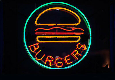 Burger Neon Sign Display Restaurant Bar Food Store Real Neon Light Custom Z482