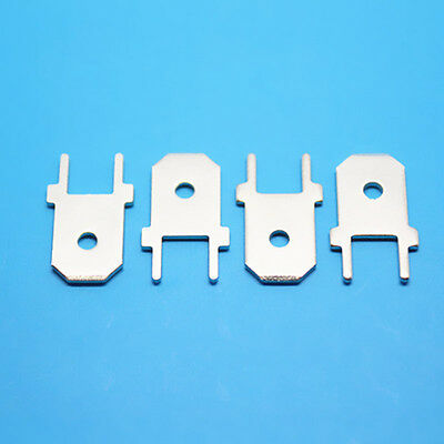 "5X Straight ¼"" PCB Solder 6.3mm Male Spade Tab Terminals Uninsulated Board Mount"