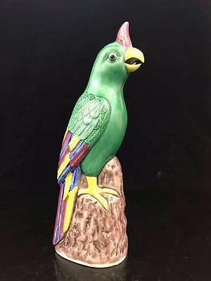 19/20 Century Chinese Ceramic Parrot Signed