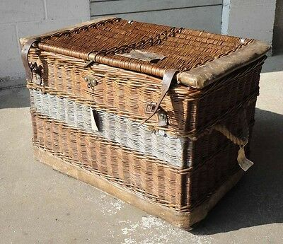 Rare Antique Victorian White Bros Wicker Laundry Steamer Travel Trunk Chest +Key