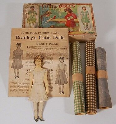 "1800s Milton Bradley's PAPER CUTIE DOLLS in box with dress patterns & ""Cloth"""