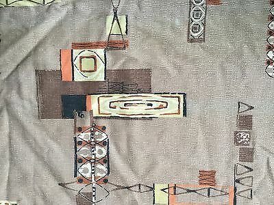 Antique Mid Century Barkcloth Curtain Panels, Space Age, Fabric