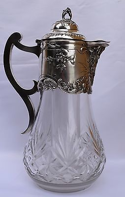 French Antique Poignet Louis Decanter - Sterling Silver & Cut Crystal - Louis XV