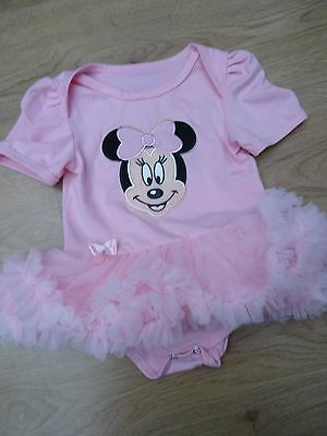 Baby Girls Age 12 Months Pink Frilly Minnie Mouse Tutu Vest Babygrow Outfit